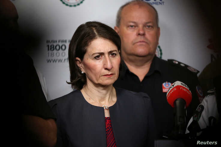 NSW Premier Gladys Berejiklian attends a news conference at Rural Fire Service (RFS) Headquarters in Sydney, Australia, January…