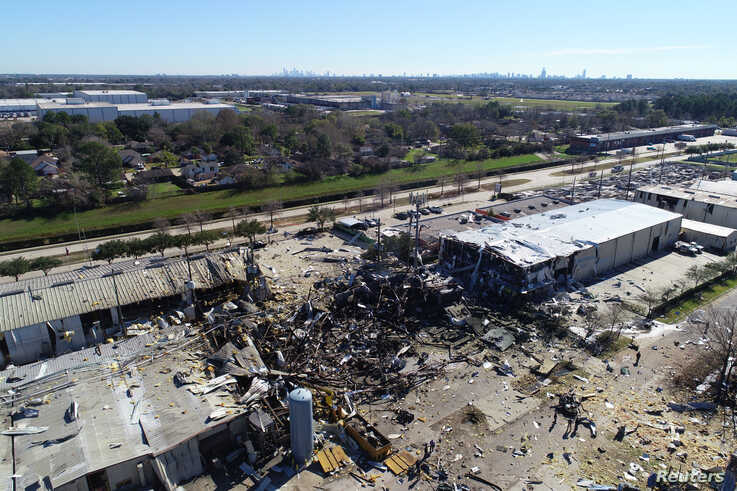 A drone image of damage at the site of an explosion in Houston, Texas, U.S., January 24, 2020.  REUTERS/DroneBase