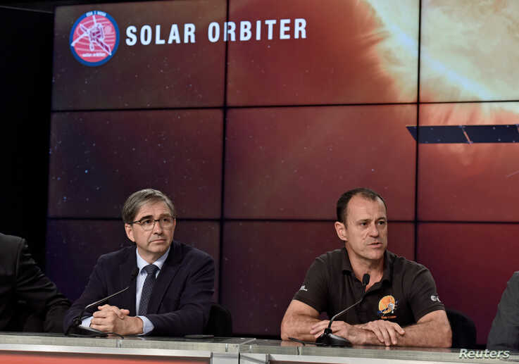 European Space Agency Solar Orbiter Project Manager Cesar Garcia listens as Airbus Defense and Space Solar Orbiter Project…