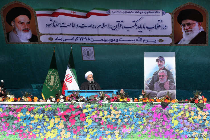 aIranian President Hassan Rouhani delivers a speech during the commemoration of the 41st anniversary of the Islamic revolution in Tehran, Feb. 11, 2020. (Official Presidential Website)