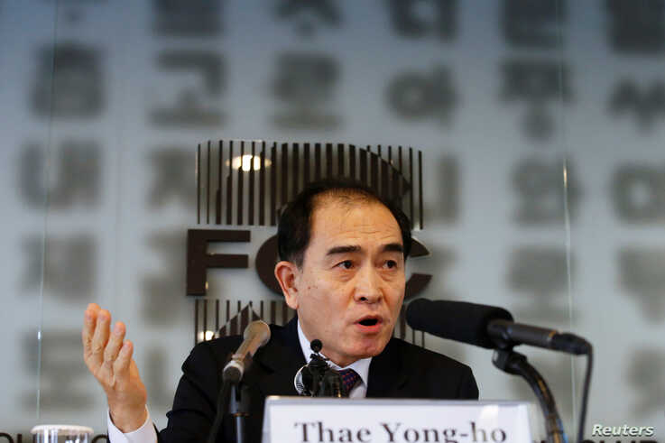 Thae Yong Ho, North Korea's former deputy ambassador to Britain, speaks during a news conference, ahead of the country's…