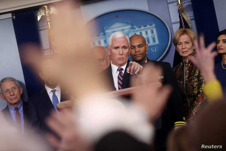 U.S. Vice President Mike Pence takes questions during a news briefing on the administration response to the Coronavirus, at…
