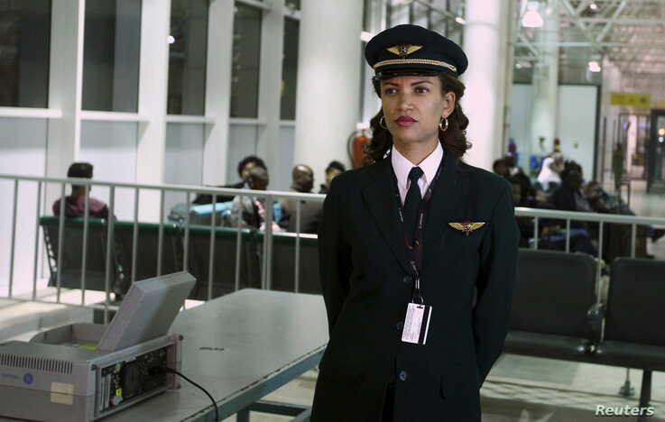 Ethiopian Airlines' first female captain Amsale Gualu waits to be cleared to board before takeoff at Bole international airport…