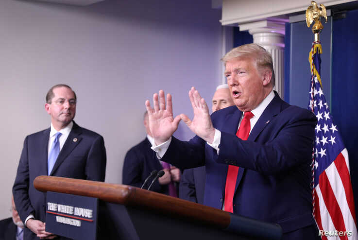 U.S. President Donald Trump addresses the daily coronavirus task force briefing at the White House in Washington, U.S., April 3…