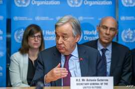 (FILES) In this file photo taken on February 24, 2020 UN Secretary-General Antonio Guterres speaks during an update on the…