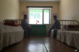 In this May 7, 2018, photo, patients are seen in their room at the National Tuberculosis Reference Laboratory in Pyongyang,…