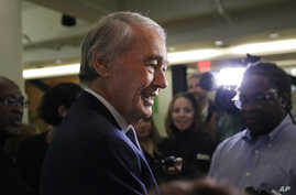 U.S. Sen. Edward Markey, D-Mass., speaks with reporters after participating in a roundtable discussion, Tuesday, Oct. 1, 2019,…