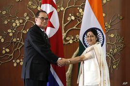 Indian Foreign Minister Sushma Swaraj, right, shakes hand with North Korea's Foreign Minister Ri Su Yong in New Delhi, India,…