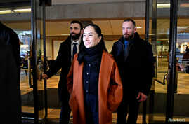 Huawei Chief Financial Officer Meng Wanzhou leaves the B.C. Supreme Court after attending a case management conference in…