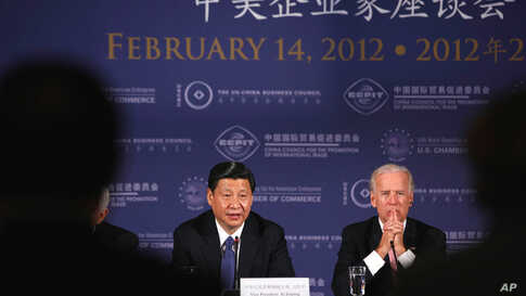 U.S. Vice President Joe Biden and Xi at a business roundtable event at the U.S. Chamber of Commerce in Washington February 14, 2012. (Reuters)