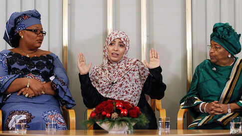 Nobel Peace Prize winners, Liberian peace activist Leymah Gbowee, human rights activist Tawakul Karman from Yemen and Liberian President Ellen Johnson-Sirleaf at the Nobel Institute in Oslo December 9, 2011. (Reuters)