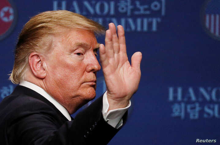 U.S. President Donald Trump reacts during a news conference after his summit with North Korean leader Kim Jong Un, at the JW Marriott Hotel in Hanoi, Feb. 28, 2019.
