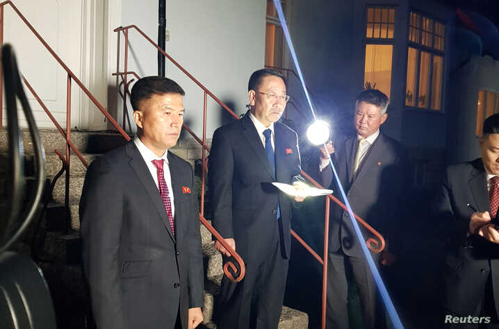 North Korea's chief nuclear negotiator Kim Myong Gil is seen outside the North Korean embassy in Stockholm, Oct. 5, 2019.