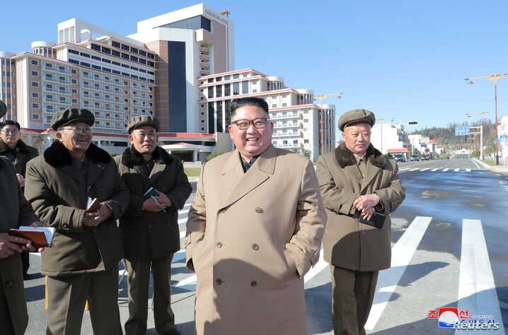 North Korea's leader Kim Jong Un provides field guidance to construction sites in Samjiyon County, in this undated picture released by North Korea's Central News Agency (KCNA) on October 16, 2019.  KCNA via REUTERS  ATTENTION EDITORS - THIS IMAGE…