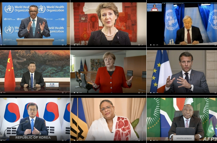 TOPSHOT - This combination created of nine video grabs taken on May 18, 2020 from the website of the World Health Organization…