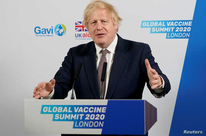 Britain's PM Johnson attends Global Vaccine Summit via Zoom in London