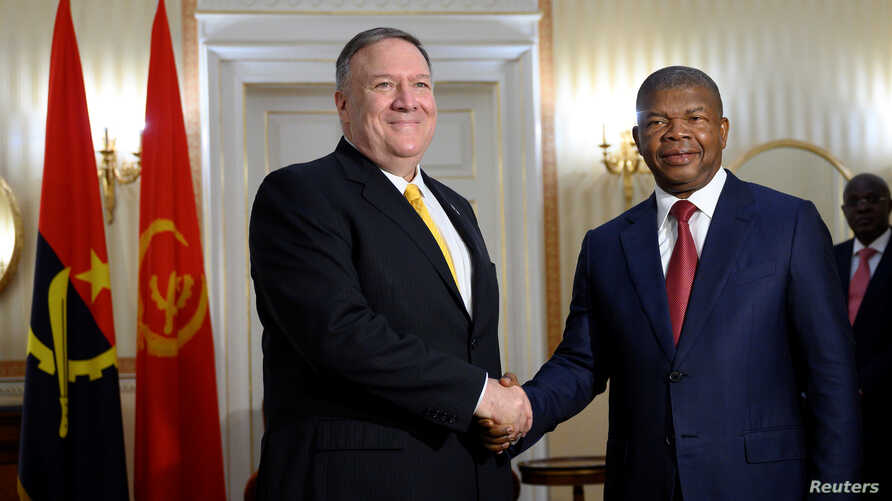 Angolan President Joao Lourenco meets with U.S. Secretary of State Mike Pompeo at the Presidential Palace in Luanda, Angola…