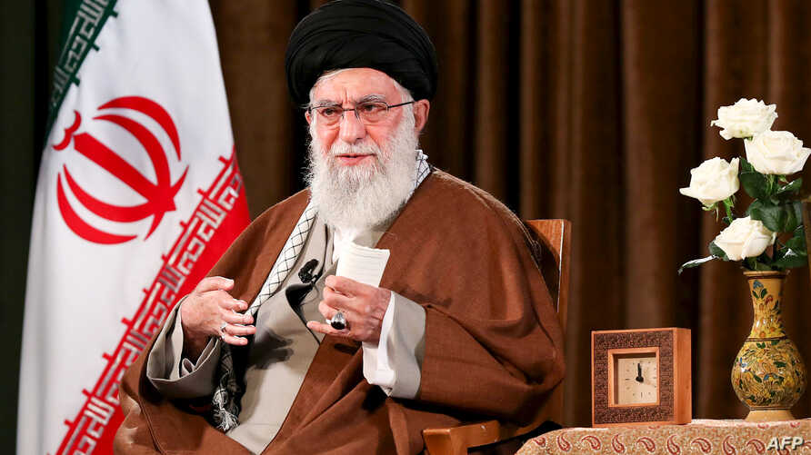 A handout picture provided by the office of Iran's Supreme Leader Ayatollah Ali Khamenei on March 22, 2020 shows him delivering…