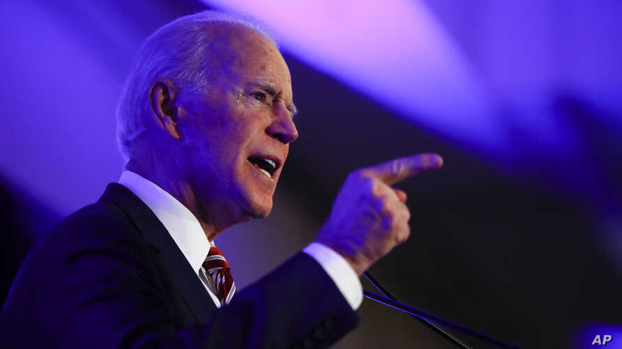 Democratic presidential candidate former Vice President Joe Biden speaks at the First in the South Dinner, Monday, Feb. 24,…