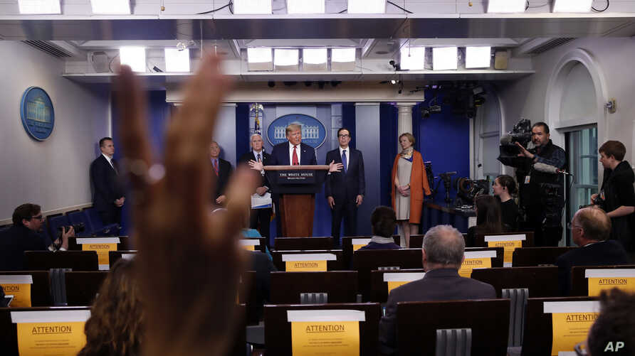 President Donald Trump speaks about the coronavirus in the James Brady Briefing Room, Wednesday, March 25, 2020, in Washington…