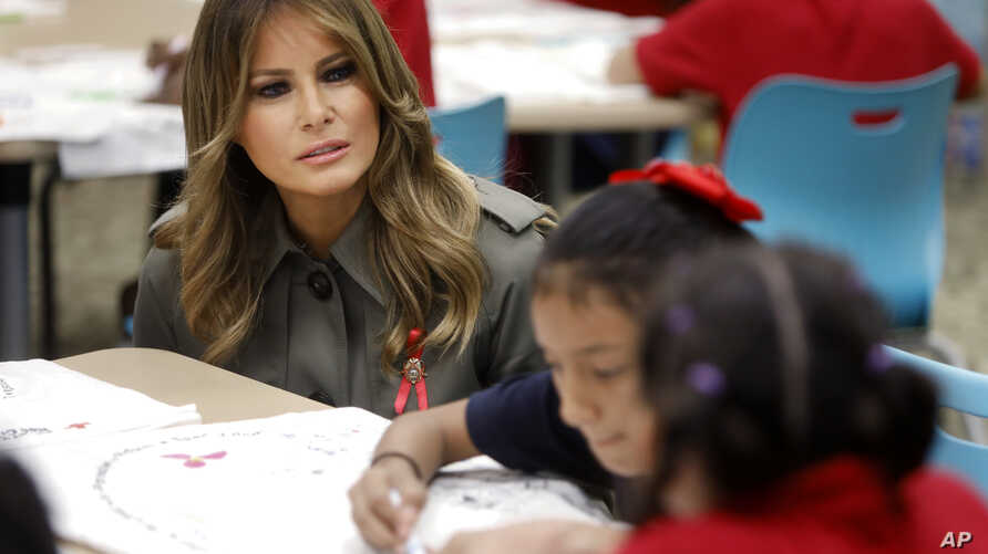 First lady Melania Trump speaks to students at Lambs Elementary, Wednesday, Oct. 30, 2019, as part of a trip to observe…
