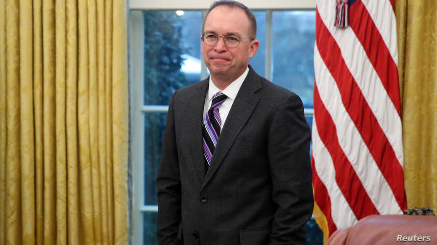 Acting White House Chief of Staff Mick Mulvaney attends U.S. President Donald Trump's meeting with Greek Prime Minister…