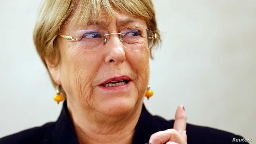 U.N. High Commissioner for Human Rights Michelle Bachelet attends a session of the Human Rights Council at the United Nations…