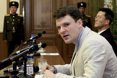 FILE - American student Otto Warmbier speaks as he is presented to reporters in Pyongyang, North Korea, Feb. 29, 2016.