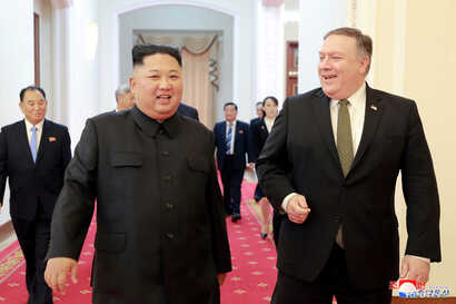 FILE - North Korean leader Kim Jong Un meets with U.S. Secretary of State Mike Pompeo in Pyongyang in this photo released by North Korea's Korean Central News Agency (KCNA), on Oct. 7, 2018.