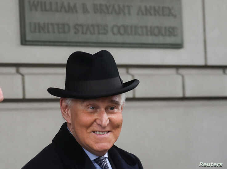 Former Trump campaign adviser Roger Stone departs after he was sentenced to three years and four months in prison for charges…