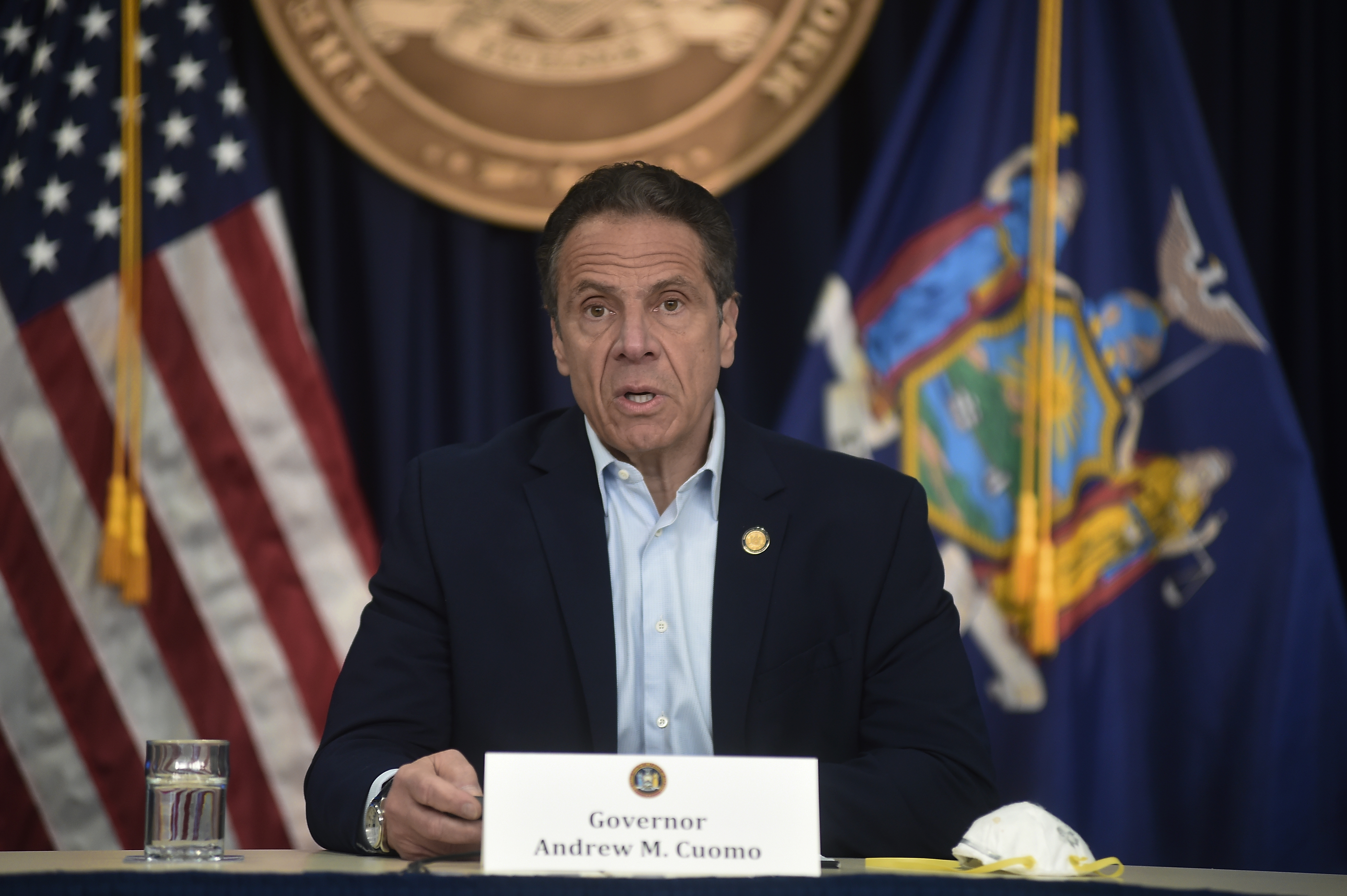 New York Gov. Andrew Cuomo briefs the media during a coronavirus news conference at his office in New York City, Saturday, May…