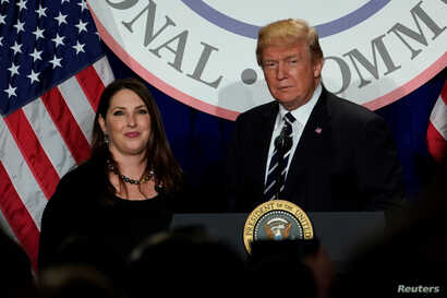 U.S. President Donald Trump is introduced by RNC chairwoman Ronna McDaniel at the Republican National Committee's winter…