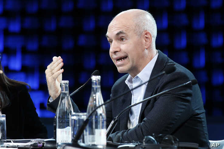 Buenos Aires City Mayor Horacio Rodriguez Larreta speaks during a session as part of the One Planet Summit, in Boulogne…